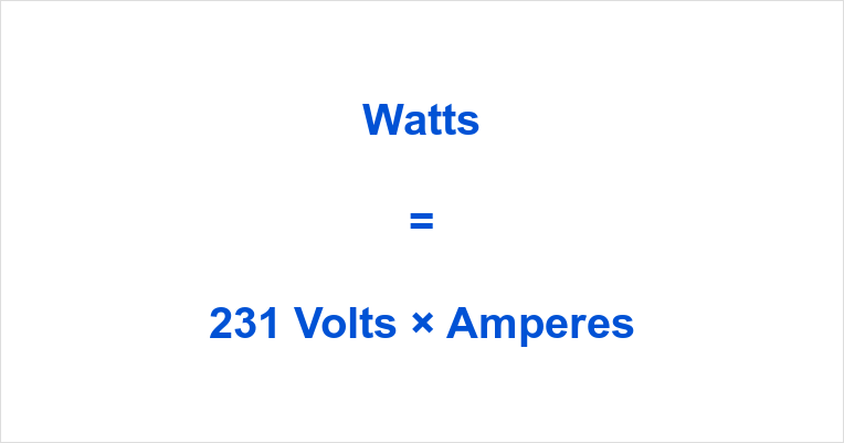 231 Volts to Watts